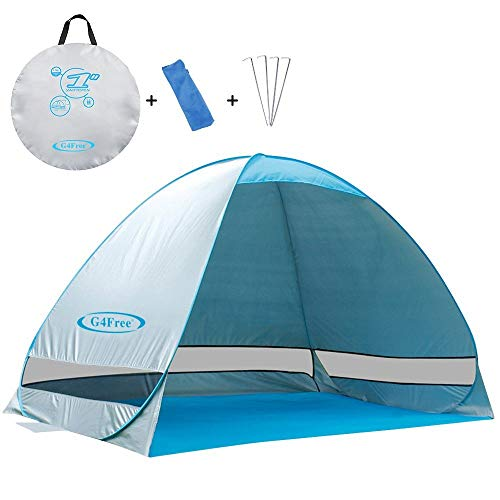 G4Free Outdoor Automatic Pop up Instant Portable Cabana Beach Tent 2-3 Person Camping Fishing Hiking Picnicing Anti UV Beach Tent Beach Shelter, Sets up in Seconds(Silver) ()