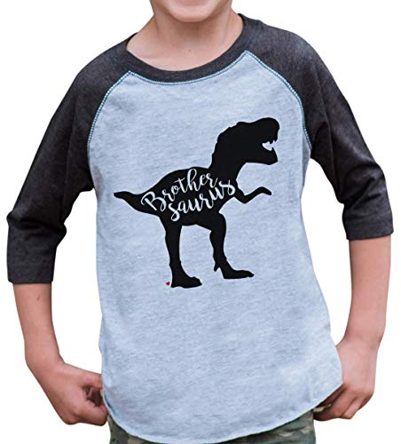 7 ate 9 Apparel Kids Dinosaur Brothersaurus Grey Baseball Tee