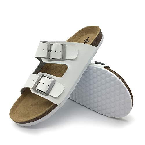 FUNKYMONKEY Unisex Slides Sandal Double Buckle Adjustable Leather Flat Sandals (6 B(M) US-Women, White/Women)