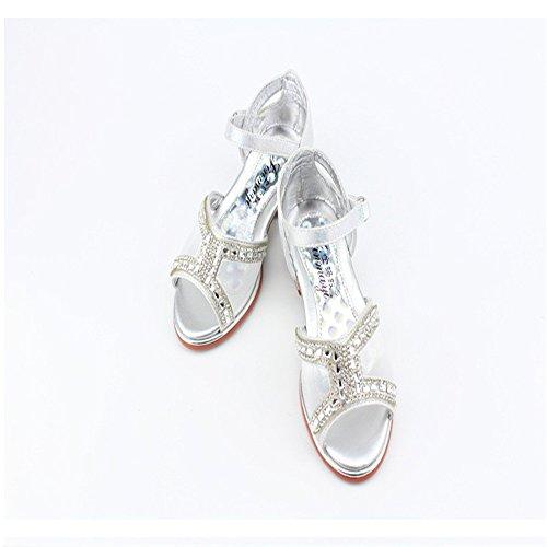 ZGSX sandalias de verano de los nuevos niños pequeños zapatos de diamantes de imitación sandalias de tacón alto dulces Plata