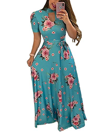 Aublary Women's Floral Maxi Dress Short Sleeve Stand Collar Maxi Long Dresses with Removable Belt, Blue L