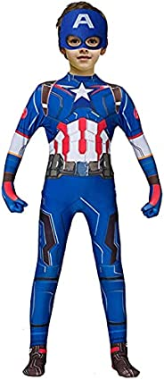 Superhero Costume for Boys Bodysuit Red Zentai 3D Style Spandex Jumpsuit for Kids Cosplay Halloween