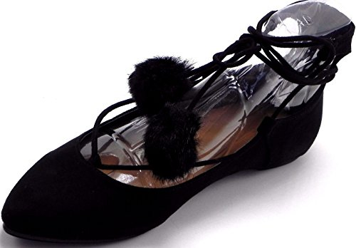 Dev Femmes Bout Pointu Pom Pom Posh Ligoter Jusquà Pompes Plates Sandales Chaussures 6-10 Noir