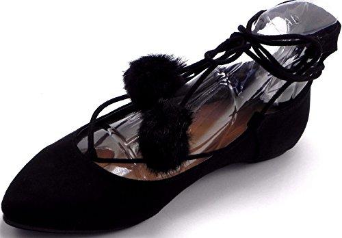 Dev Kvinners Spisse Tå Pom Pom Posh Tie Up Flat Pumper Sandal Sko 6-10 Svart