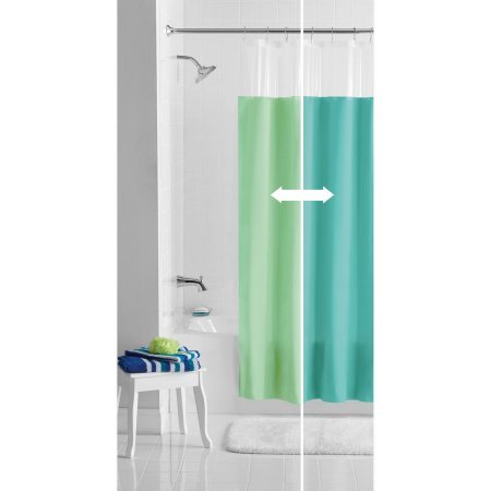 Shower Curtains With Clear Top Panel.Mainstays Blue Green Reversible Peva Shower Curtain