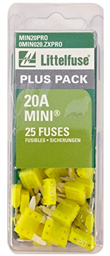 Littelfuse MIN20PRO MINI BP PRO Fast-Acting Automotive Blade Fuse - 25 Piece