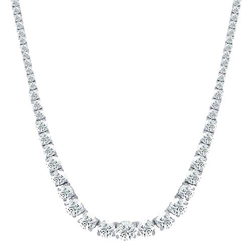 Womens Magnificent Graduated Round Cubic Zirconia Tennis Necklace by NYC Sterling ()