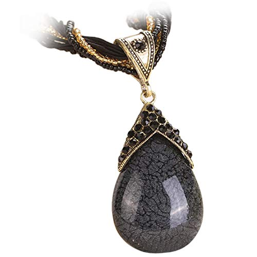 Women Healing Chakra Natural Gemstone Teardrop Pendant Necklaces Tribal Dangle Bead Vintage Bohemian Jewelry