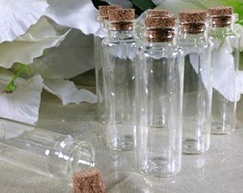 """3 """"Slender botellas de vidrio con tapón de corcho (36 ..."""