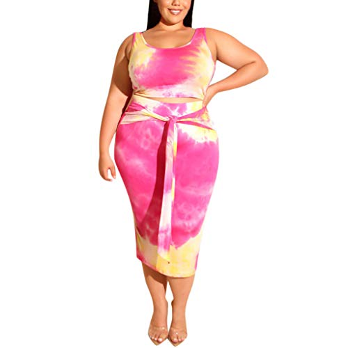 (【HebeTop】 Womens Sexy Plus Size 2 Piece Midi Dress Outfits - Sleeveless Tie Dye Print Tank Crop Top Bodycon Skirts Set Hot Pink)
