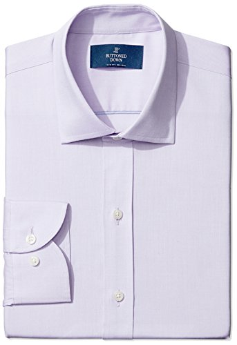 Straight Collar Dress Shirt - BUTTONED DOWN Men's Slim Fit Spread-Collar Non-Iron Dress Shirt (No Pocket), purple, 16.5 32