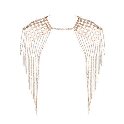 Bewish Women Punk Harness Bikini Beach Tassel Body Collar Shoulder Chain Gold Necklace