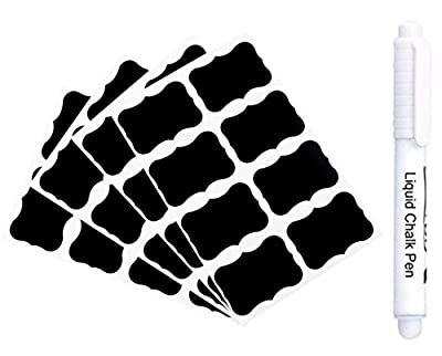 36Pcs Chalk Pen Chalkboard Sticker Labels Vinyl Kitchen Jar Wall Cup Bottle + Erasable White Chalk Marker
