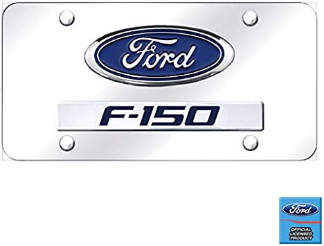 Ford F-150 Platinum Logo and Nameplate Chrome Steel License Plate Au-Tomotive Gold INC