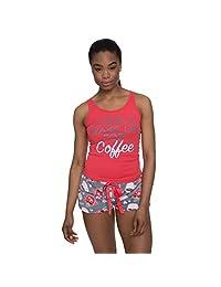 Sleep & Co Women's Graphic Tank Top and Plush Shorts Pajama Sleepwear Set