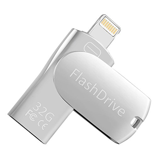 Drive 32GB, USB 2.0 External Storage Memory Stick Adapter Expansion iPad/iPod/Mac/Android/PC/iOS. (32GB, Silver) ()