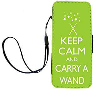 Rikki Knight Keep Calm and Carry a Wand - Lime Green Color Flip Wallet iPhoneCase with Magnetic Flap for Apple iPhone 5c