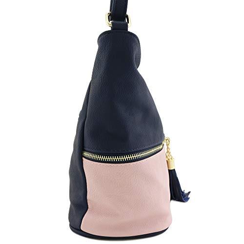 Navy Pink Tassel Bucket Zipper Bag Crossbody BpXIRqc7Z