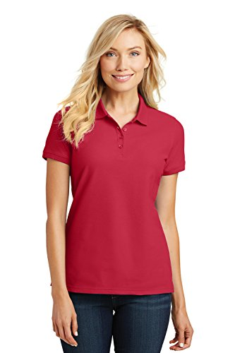 Port Authority Ladies Core Classic Pique Short Sleeved Golf Polo, X-Large, Rich Red (Authority Sports)