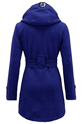 Royal Womens Blue Fleece Sleeve Long Coat NOROZE Button Belted 0Hq0xd