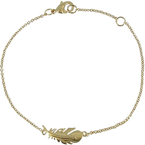 9k Designer Bracelet - Les Poulettes Jewels - Gold Plated Bracelet with Bird Feather