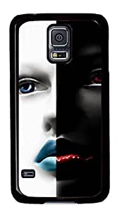 Diy Fashion Case for Samsung Galaxy S5,Black Plastic Case Shell for Samsung Galaxy S5 i9600 with Black and White Face hjbrhga1544