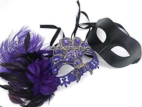 MASQSTUDIO Couple Masquerade Feather Lace Mask Pair Mardi Gras Costume Carnival Party (Purple) -
