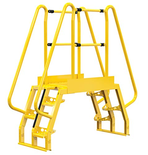 """Vestil COLA-2-68-32 Yellow Alternating Cross-Over Ladder, 73"""" x 73"""", 4 Step, 350 lb. Capacity"""