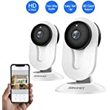 SMONET Security Camera Wireless, HD Wireless IP Camera Built in Two-Way Audio, Security Surveillance CCTV Camera with Night Vision-Cloud Service Available (2packs,White)