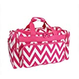 Snowflake Designs Pink and White Chevron Duffel Bag