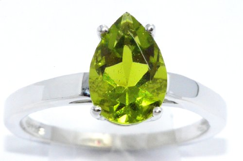10x7mm Simulated Peridot Pear Ring .925 Sterling Silver Rhodium Finish