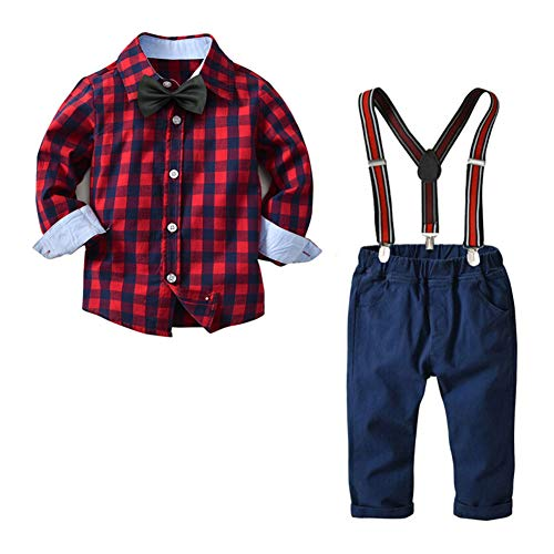 Yilaku Boys' 4-Piece Dress up Pants Set Gentleman Outfit Long Sleeve Shirt with Suspender and Pant (Red -