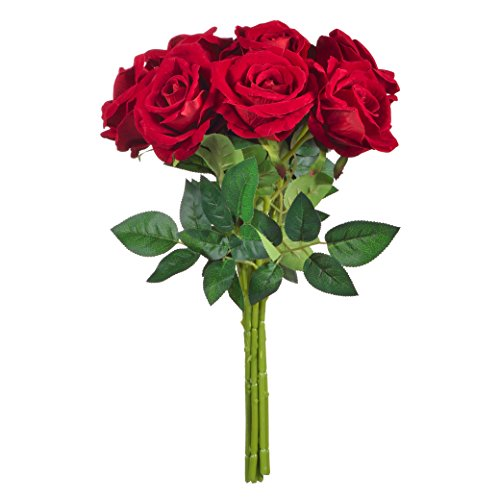 BELIVILA Artificial Silk Flowers Red Roses 9 Big Heads for Bouquet Wedding Party Centerpieces Garden Decoration(Big)