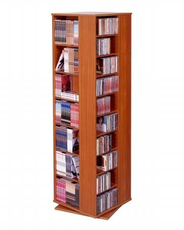 Good Leslie Dame CD 1040CHY Revolving CD / DVD Storage Tower In Light Cherry
