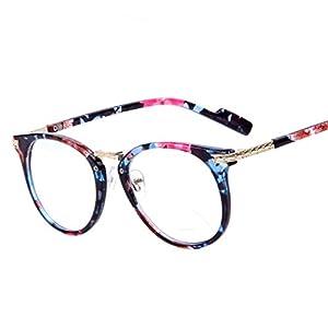2015 Women Retro Eyeglasses Fashion Round Metal Arm Eyeglasses Frame Optical Computer Eye Glasses Frame (Flowers)