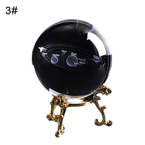 TTShonf Kids Educational Solar System 3D Planets Miniature Crystal Ball Model Home Decor 3# ()