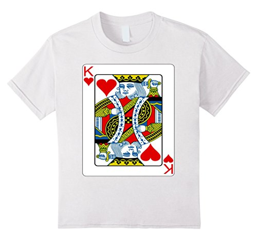 Valentine's Day Themed Costume (Kids King of hearts playing card Valentine's Day gift T-shirt 10 White)