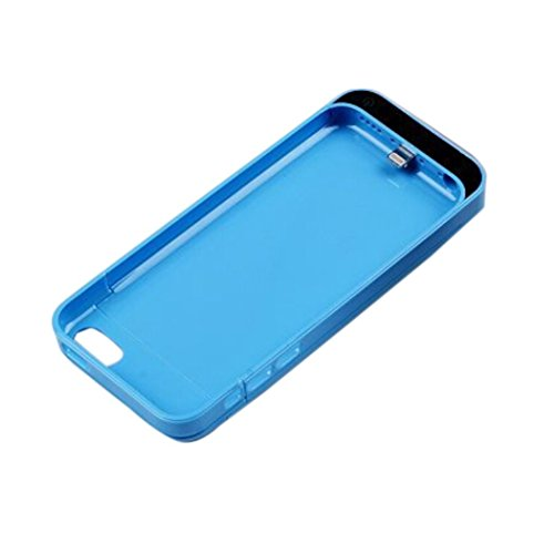 NOKKOO Power Bank charger case External Rechargeable Backup Battery Charger Charging Case Cover for iPhone 5C with Pop-out Kickstand / Multi-colors (Blue)