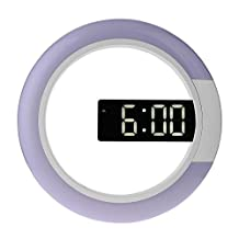 12 Inch LED Mirror Cutout Wall Clock Seven Colors Ring Shaped Light Alarm Clock With Alarm Clock and Temperature Display for Home Office