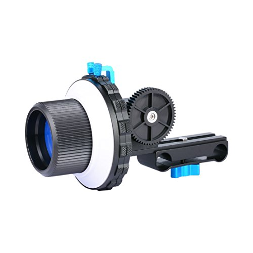 Annsm Camera Follow Focus with Two Hard Stoppers for DSLR Cameras Camcorder Video Cameras, Fits with Shoulder Supports, Movie Rigs Stabilizers, Cages Rig with 15mm Std Rail Rods by Annsm