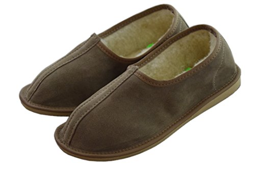 Natleat Slippers Womens Mens Unisex Natura Leather And Sheep's Wool Lining Slippers Grey / suede 3YXG9ixH1