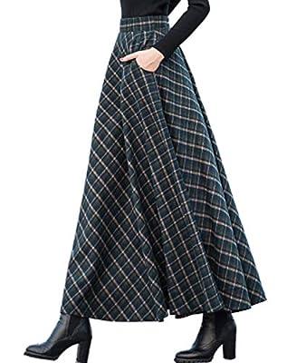 Femirah Women's Classic Plaid High Waist Swing Stretch Wool Long Skirt