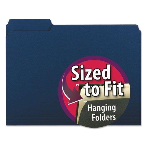 Single Cut 1/3 - Smead Interior File Folder, 1/3-Cut Tab, Letter Size, Navy, 100 per Box (10279)