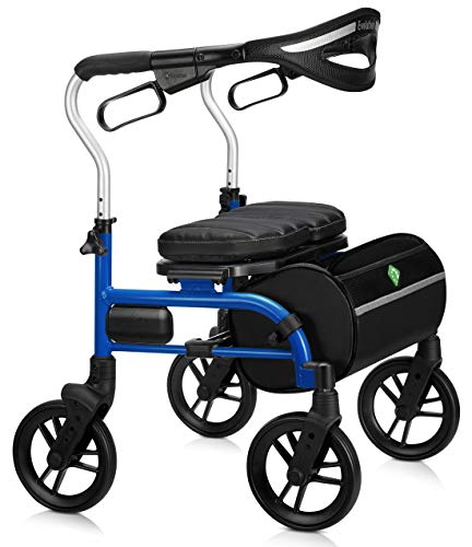 Evolution Trillium Lightweight Medical Walker Rollator with Seat and Brakes