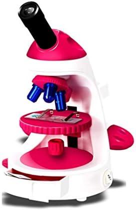 学生の子供顕微鏡セットギフト専門の玩具生物学幼稚園光科学ポータブル顕微鏡 (Color : Red)