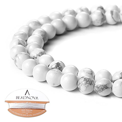 BEADNOVA Natural White Howlite Beads Natural Crystal Beads Stone Gemstone Round Loose Energy Healing Beads with Free Crystal Stretch Cord for Jewelry Making (6mm, 63-65pcs) -