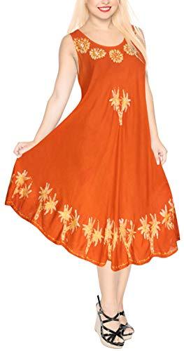 Tie Dye Batik - LA LEELA Rayon Batik Tie Dye Cruise Caftan Long Women Orange 526 Plus Size