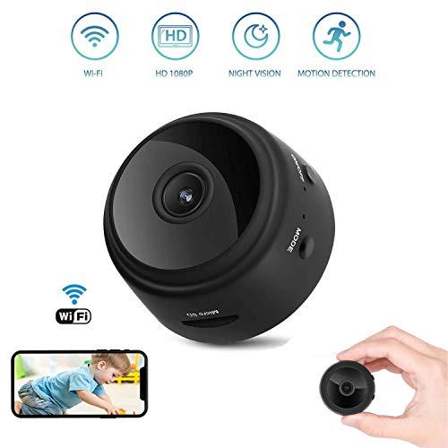 Mini Spy Camera WiFi Hidden Camera Wireless HD 1080P Indoor Home Small Spy Cam Security Cameras/Nanny Camera,Night Vision 150 Degree Mini Remote Control Wireless Magnetic Hidden Spy Camera