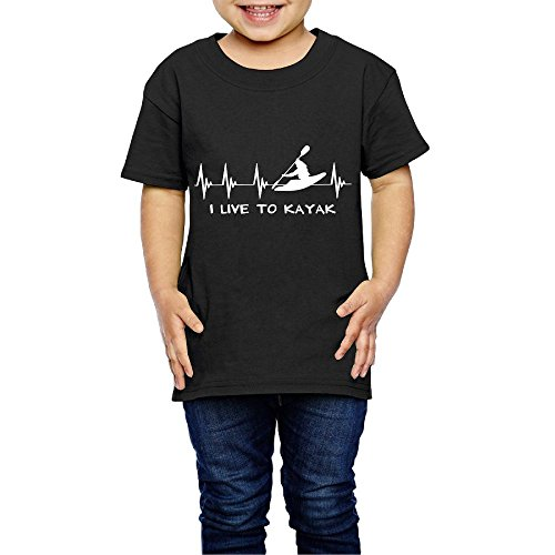 I Live to Kayak Heartbeat Crew Neck Short Sleeve T Shirt 2-6 Toddler ()