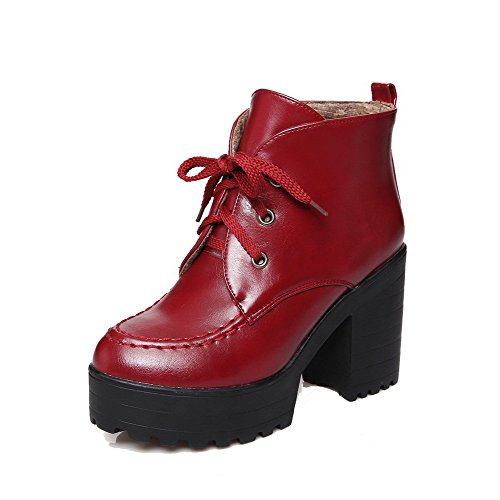 Claret Soft high Heels High Toe Material Ankle Closed Women's AgooLar Boots Lace up Round OqASa5wx